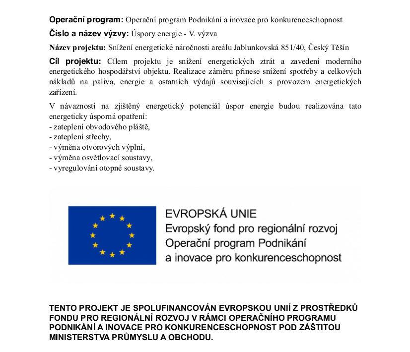 w8 český těšín projekty eu